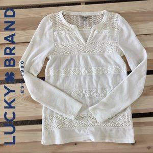 Lucky Brand Ivory Crochet Lace Thermal Long Sleeve